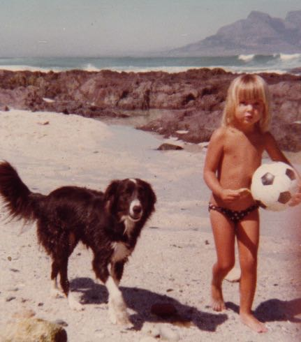 Sindy (our collie)... and me.  On Blouberg beach (down the road from our home in Table View).